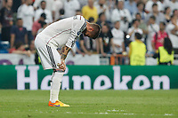 Real Madrid´s Sergio Ramos regrets the defeat after the Champions League semi final soccer match between Real Madrid and Juventus at Santiago Bernabeu stadium in Madrid, Spain. May 13, 2015. (ALTERPHOTOS/Victor Blanco)