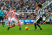 Stoke City Midfielder Xherdan Shaqiri has a good effort  during the Barclays Premier League match between Newcastle United and Stoke City at St. James's Park, Newcastle, England on 31 October 2015. Photo by Craig McAllister.