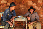 Actor Luke Ford (Snowy) and Robert Menzies (as Arthur Upfield) - 'Blood In The Sand' - on location Mt Magnet, Western Australia - Still photograph by David Dare Parker.