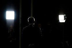 (c) Licensed to London News Pictures. <br /> 03/10/2017<br /> Manchester, UK<br /> <br /> A television reporter broadcasts at the Conservative Party Conference held at the Manchester Central Convention Complex.<br /> <br /> Photo Credit: Ian Forsyth/LNP