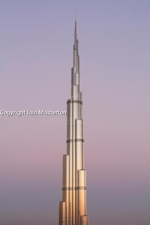 Burj Khalifa  at sunrise in Dubai  United Arab Emirates