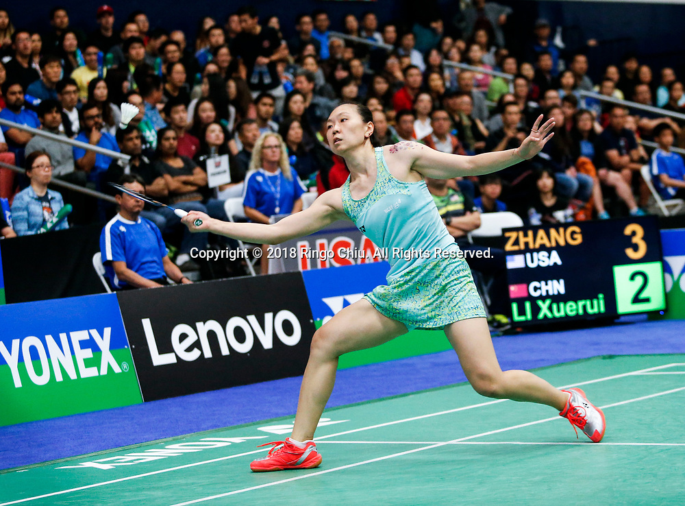 Beiwen Zhang of USA, competes with Li Xuerui of China, during the women's singles final match at the U.S. Open Badminton Championships in Fullerton, California on June 17, 2018. Li won 2-1. (Photo by Ringo Chiu)<br /> <br /> Usage Notes: This content is intended for editorial use only. For other uses, additional clearances may be required.