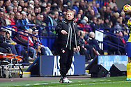 Bolton Wanderers Manager Neil Lennon shouts at the referee's assistant. Skybet football league championship match, Bolton Wanderers v Huddersfield Town at the Macron stadium in Bolton, Lancs on Saturday 29th November 2014.<br /> pic by Chris Stading, Andrew Orchard sports photography.