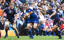 Cape Town-180427 Stomers  Chris van Zyl  tackled by Michael Ruru in the Super 15 rugby game at Newlands Stadium.photograph:Phando Jikelo/African news Agency