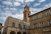 Pienza, Tuscany, Italy. Town hall clock tower