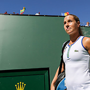 March 11, 2016, Palm Springs, CA:<br /> Dominica Sibulkova is introduced before playing Agnieszka Radwanska are introduced during the 2016 BNP Paribas Open at the Indian Wells Tennis Garden in Indian Wells, California Friday, March 11, 2016.<br /> (Photos by Billie Weiss/BNP Paribas Open)
