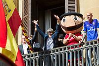 Osasuna's players during the celebration for promotion to La Liga BBVA at Navarra palace. 19,06,2016. (ALTERPHOTOS/Rodrigo Jimenez)