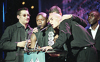 Andy Cole, Another Level at the Mobo Awards 1998 at the Royal Albert Hall London, Monday Oct 5, 1998 (AP Photo/John Marshall JME)