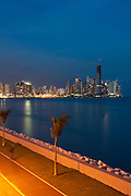 Early night view of Cinta Costera bayside road and city skyline. Panama City, Panama, Central America.