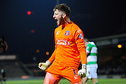 Carlisle Utd goalkeeper Mark Gillespie celebrates after yeovil's 5th penalty is missed during the The FA Cup Third Round Replay match between Yeovil Town and Carlisle United at Huish Park, Yeovil, England on 19 January 2016. Photo by Graham Hunt.