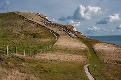 Coastal cliff path above Swyre Head and Bats Head on the Jurassic Coast, Dorset, England, UK.