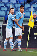 Joaquin Correa of Lazio celebrates with his teammates after scoring 1-0 goal during the Italian championship Serie A football match between SS Lazio and US Lecce Sunday, Nov. 10, 2019 at the Stadio Olimpico in Rome. SS Lazio defeated US Lecce 4-2. (Federico Proietti/Image of Sport)