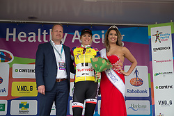 Ellen van Dijk (NED) of Team Sunweb retains the yellow jersey as the leader of the Overall Classification after Stage 4 of the Healthy Ageing Tour - a 126.6 km road race, starting and finishing in Finsterwolde on April 8, 2017, in Groeningen, Netherlands.