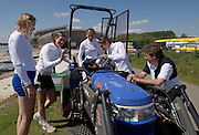 Caversham, Reading, left Frances HOUGHTON, Katherine GRAINGER and Debbie FLOOD driving, Annie VERNON and John INVERDALE, looks on  GB Rowing Team Training at Redgrave Pinsent Lake, Engand [Credit Peter Spurrier/Intersport Images]  [Mandatory Credit, Peter Spurier/ Intersport Images]. , Rowing course: GB Rowing Training Complex, Redgrave Pinsent Lake, Caversham, Reading