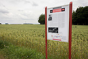 Roadside sign marking the place where Manfred von Richthofen, the red Baron was killed by enemy fire at Vaux-sur-Somme in 1918.
