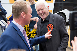 © Licensed to London News Pictures. 15/05/2017. Olton, Solihull, UK. Liberal Democrats Leader Tim Farron in Solihull meeting Lionel King who is wearing a rosette from the 1970's.  Photo credit: Dave Warren/LNP