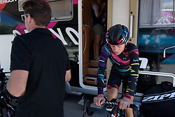 Leah Thorvilson warms up for Stage 5 of the Giro Rosa - a 12.7 km individual time trial, starting and finishing in Sant'Elpido A Mare on July 4, 2017, in Fermo, Italy. (Photo by Sean Robinson/Velofocus.com)