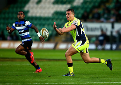 JT Nabetelevu of Sale Sharks passes the ball - Mandatory by-line: Robbie Stephenson/JMP - 28/07/2017 - RUGBY - Franklin's Gardens - Northampton, England - Sale Sharks v Bath Rugby - Singha Premiership Rugby 7s