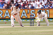 Alistair Cook blocks the ball during day three of the Australia v England fourth test at the Melbourne Cricket Ground, Melbourne, Australia on 28 December 2017. Photo by Mark  Witte.