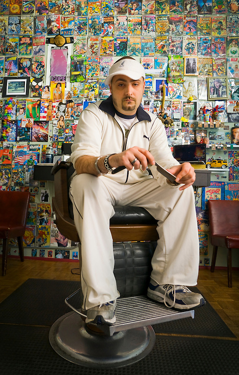 Portrait of Jordan Soriano at Spins Barber Shop, Seattle, WA.