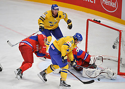 11.05.2012, Ericsson Globe, Stockholm, SWE, IIHF, Eishockey WM, Russland (RUS) vs Schweden (SWE), im Bild, Sverige Sweden 21 Loui Eriksson nearly goal // during the IIHF Icehockey World Championship Game between Russia (RUS) and Sweden (SWE) at the Ericsson Globe, Stockholm, Sweden on 2012/05/11. EXPA Pictures © 2012, PhotoCredit: EXPA/ PicAgency Skycam/ Simone Syversson..***** ATTENTION - OUT OF SWE *****