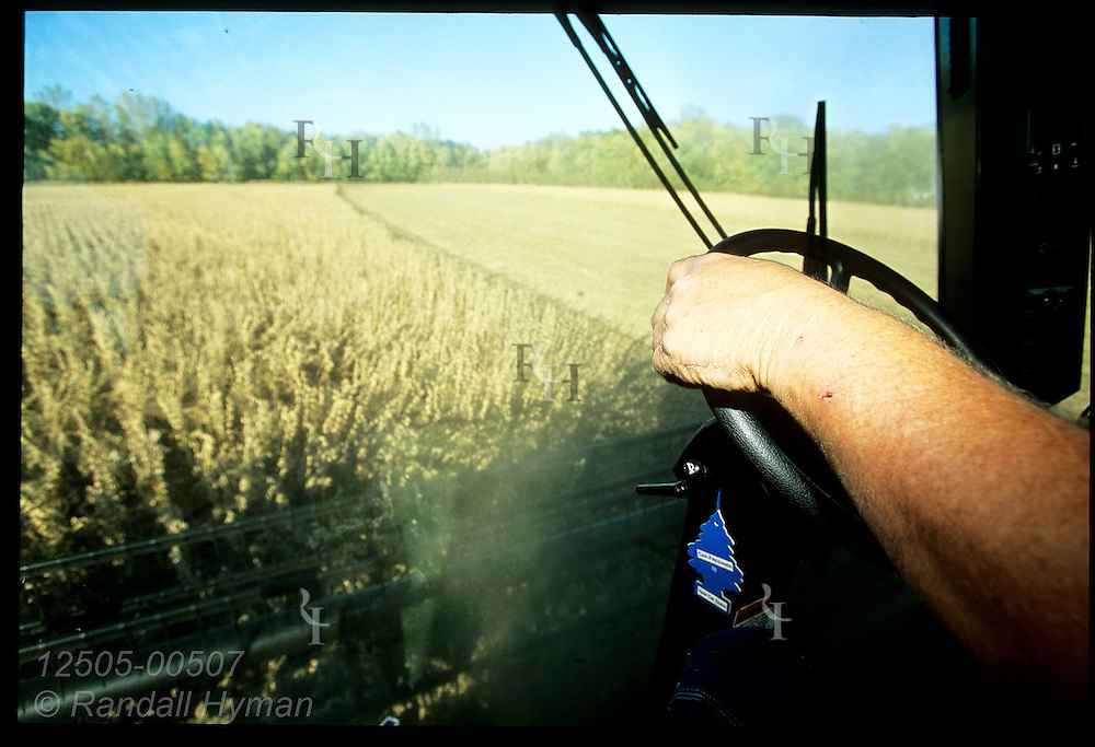 Farmer's strong arm wrestles the steering wheel in the cab of a combine harvesting soybeans in October near Chillicothe, Missouri