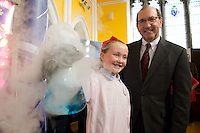 Leona Larkin Clontuskert National School, Ballinasloe,  Co. Galway at the Science and Technology Festival programme launch at NUI, Galway  by Mr. William Hawkins, Chairman and CEO of Medtronic Inc., who employ 2000 people in Ireland and 44,000 worldwide in the Medical devices sector. The Festival runs from the 8th till the 21st of November in County Galway. Photo:Andrew Downes.