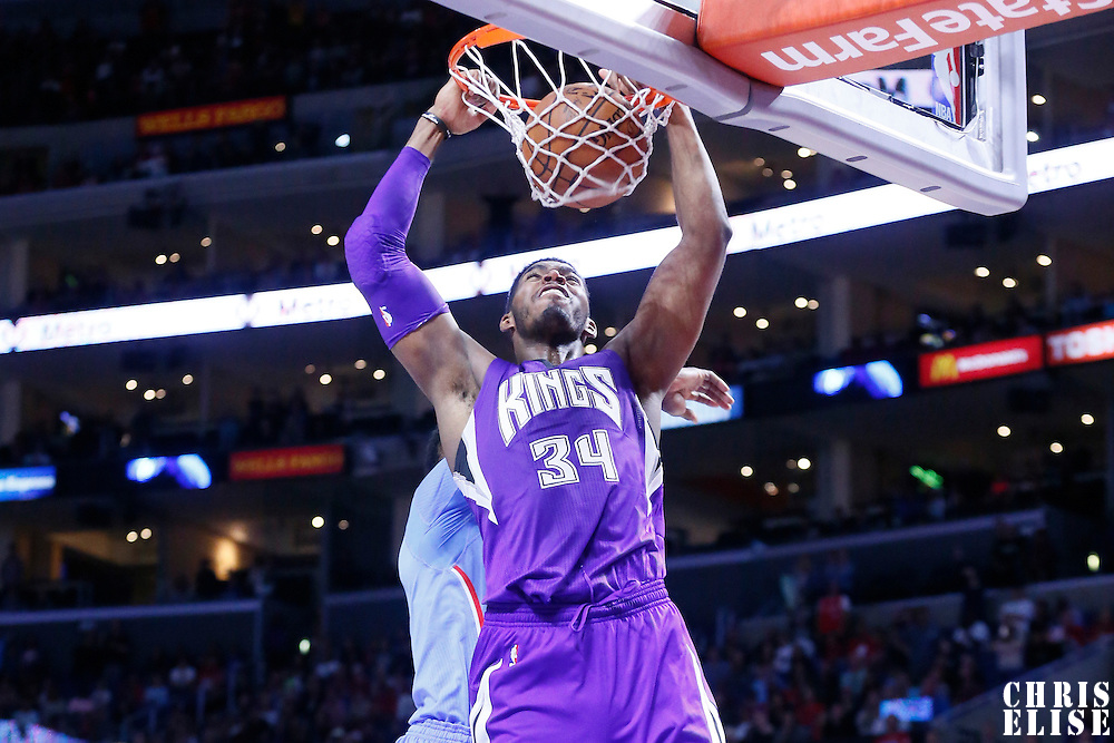 02 November 2014: Sacramento Kings forward Jason Thompson (34) dunks the ball during the Sacramento Kings 98-92 victory over the Los Angeles Clippers, at the Staples Center, Los Angeles, California, USA.