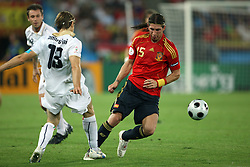 Massimo Ambrosini of Italy (13) stepped on the leg of Sergio Ramos of Spain (15) during the UEFA EURO 2008 Quarter-Final soccer match between Spain and Italy at Ernst-Happel Stadium, on June 22,2008, in Wien, Austria. Spain won after penalty shots 4:2. (Photo by Vid Ponikvar / Sportal Images)