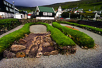 Faroe Islands. Remains of Viking buildings in Kvívík on the west coast of Streymoy.