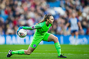 Megan Walsh (GK) (Brighton & Hove) gets the ball back into play during the FA Women's Super League match between Brighton and Hove Albion Women and Birmingham City Women at the American Express Community Stadium, Brighton and Hove, England on 17 November 2019.
