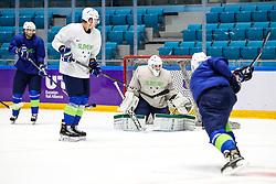 David Rodman, Miha Stebih and Zan Us at ice hockey practice one day before at IIHF World Championship DIV. I Group A Kazakhstan 2019, on April 28, 2019 in Barys Arena, Nur-Sultan, Kazakhstan. Photo by Matic Klansek Velej / Sportida