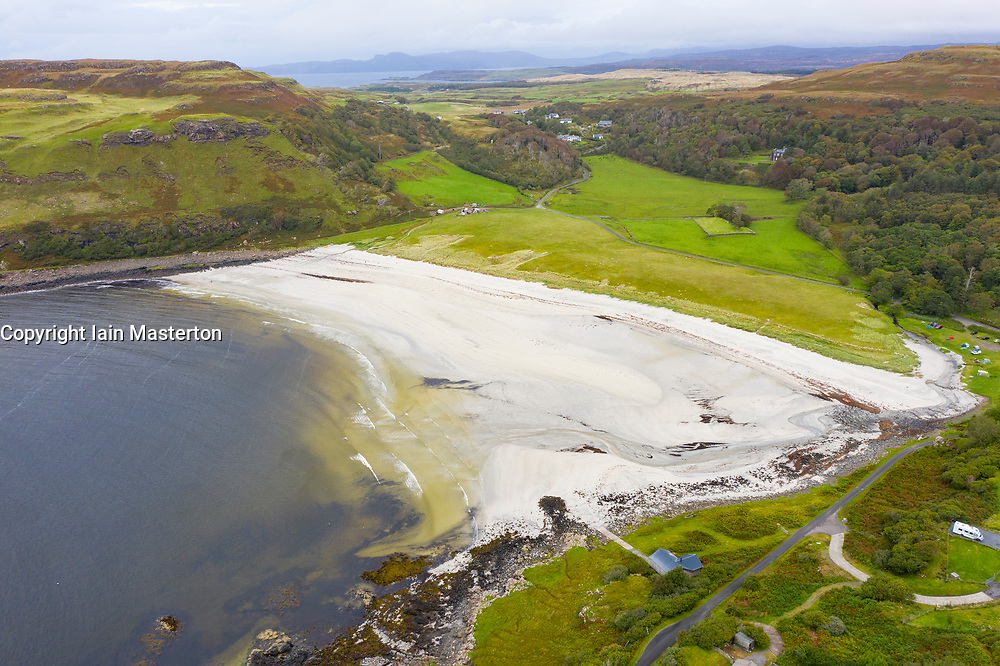 Aerial view of beach at Calgary on island of Mull, Argyll and Bute, Scotland, UK