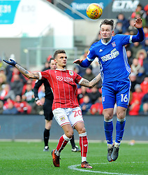 Jamie Paterson of Bristol City and Callum Connolly of Ipswich Town battles for the highball - Mandatory by-line: Nizaam Jones/JMP - 17/03/2018 - FOOTBALL - Ashton Gate Stadium- Bristol, England - Bristol City v Ipswich Town - Sky Bet Championship