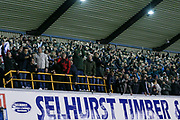 Millwall fans celebrate after winningduring the The FA Cup fourth round match between Millwall and Everton at The Den, London, England on 26 January 2019.