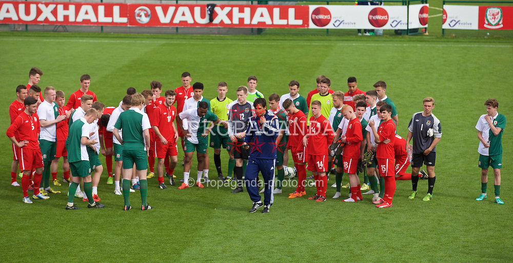 NEWPORT, WALES - Saturday, May 30, 2015: Players and Wales' manager Chris Coleman during the Football Association of Wales' National Coaches Conference 2015 at Dragon Park. (Pic by David Rawcliffe/Propaganda)