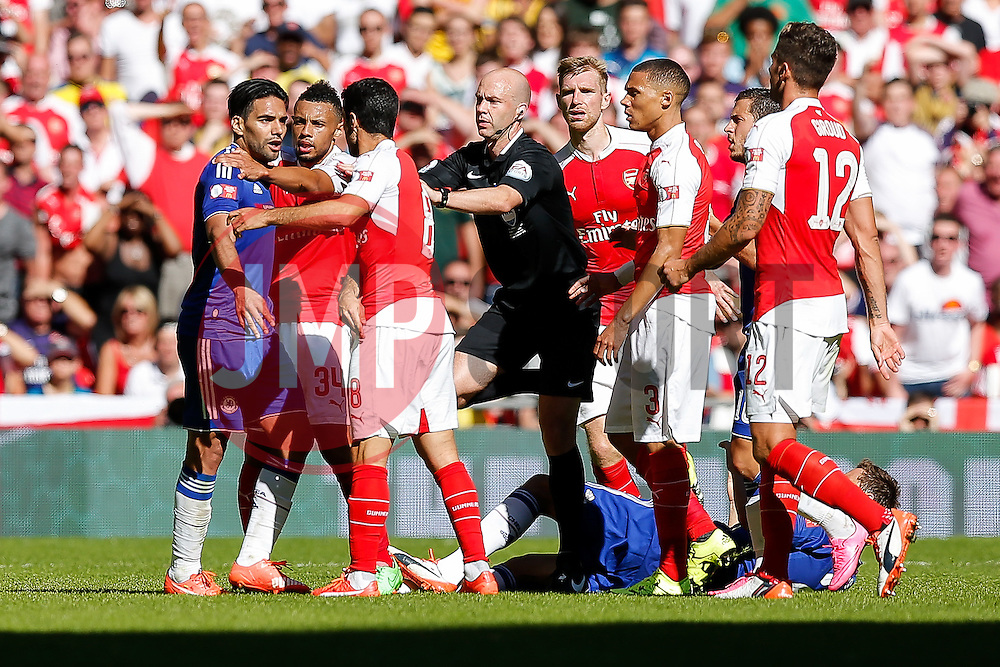 Radamel Falcao of Chelsea and Mikel Arteta of Arsenal square up - Mandatory byline: Rogan Thomson/JMP - 07966 386802 - 02/08/2015 - FOOTBALL - Wembley Stadium - London, England - Arsenal v Chelsea - The FA Community Shield.