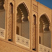 Detail of the arches on the outside of Sultan Sanjar's tomb, in the ancient city of Merv, Turkmenistan. Merv is the site of several ancient cities founded over the millennia, now a UNESCO World Heritage Site archaeology park in Turkmenistan.  It is the country's biggest tourist destination, as Merv was a major silk road city in its day, and according to some British archaeologists, it was the world's biggest city in the mid 12th century (and was at least the 3rd largest).  It was one of the Islamic world's greatest centres of learning, with 12 libraries and countless books.  It also appears to have been the furthest west point that Buddhism ever reached, with the discovery of a Buddha head statue in a complex within one of the older city walls -- quite possibly a meditation complex or monastery. The city may have been home to up to 1 million people when it was sacked by the Mongols.  The city surrendered, but the invaders killed all its inhabitants, and despite the attempt to revive it during Timur's empire, the city never flourished again.  Now a modern soviet town, Mary, is nearby.