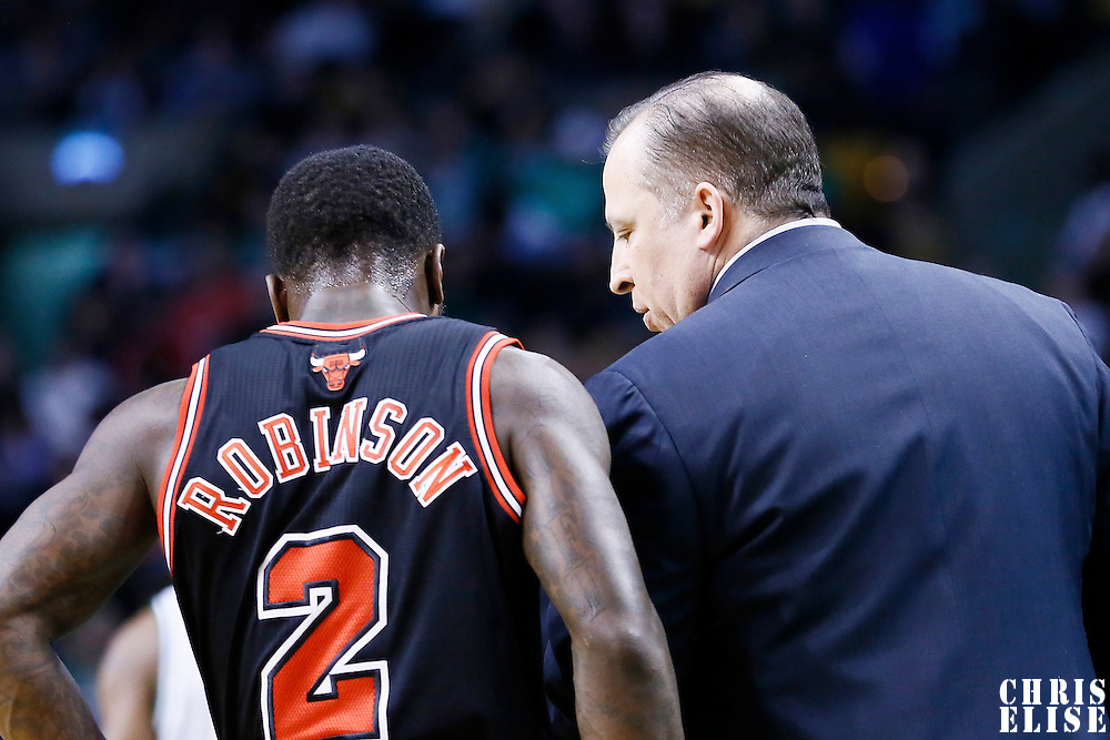18 January 2013: Chicago Bulls head coach Tom Thibodeau talks to Chicago Bulls point guard Nate Robinson (2) during the Chicago Bulls 100-99 overtime victory over the Boston Celtics at the TD Garden, Boston, Massachusetts, USA.