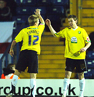 Photo: Paul Greenwood.<br />Bury v Hereford United. Coca Cola League 2. 30/01/2007. Hereford Goal scorer Andy Williams, right, celebrates with Gary Connell