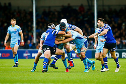 Wilhelm Van Der Sluys of Exeter Chiefs is tackled by Max Lahiff of Bath Rugby - Mandatory by-line: Ryan Hiscott/JMP - 03/11/2018 - RUGBY - Sandy Park Stadium - Exeter, England - Exeter Chiefs v Bath Rugby - Premiership Rugby Cup