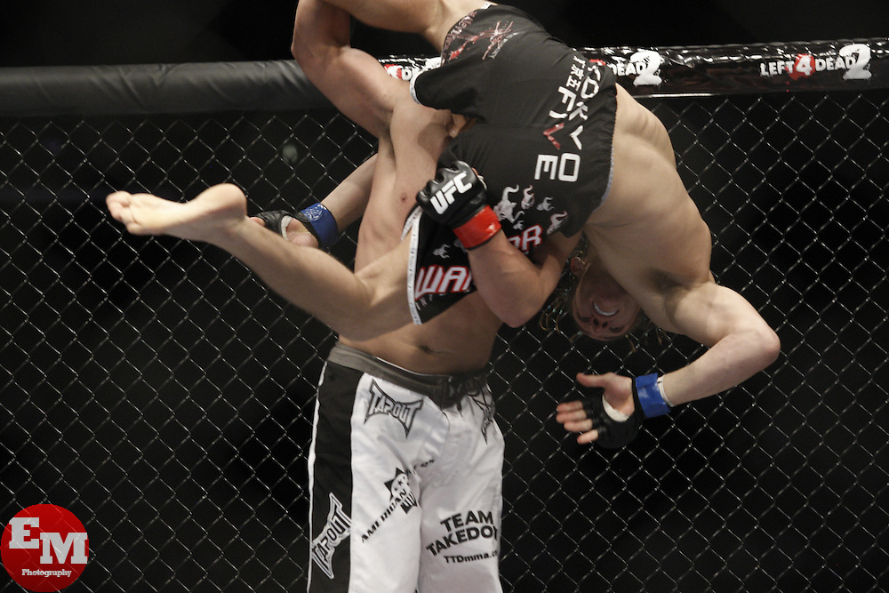 Dec 12, 2009; Memphis, TN, USA; Johny Hendricks and Ricardo Funch during their bout at UFC 107 at the FedEx Forum in Memphis, TN.  Hendricks won via unanimous decision.