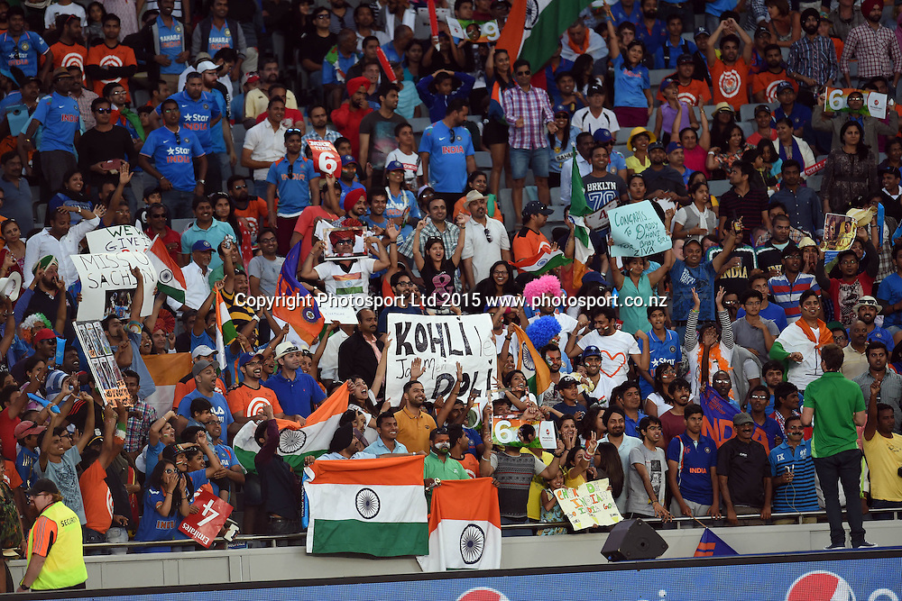 Fans during the ICC Cricket World Cup match between India and Zimbabwe at Eden Park in Auckland, New Zealand. Saturday 14 March 2015. Copyright Photo: Raghavan Venugopal / www.photosport.co.nz