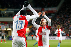 14.03.2019, Eden Arena, Prag, CZE, UEFA EL, SK Slavia Praha vs Sevilla FC, Achtelfinale, Rückspiel, im Bild MICHAEL NGADEU (SLAVIA) MIROSLAV STOCH (SLAVIA) RADOSC CELEBRATE AFTER GOAL 1-0 // during the UEFA Europa League round of 16, 2nd leg match between SK Slavia Praha and Sevilla FC at the Eden Arena in Prag, Czech Republic on 2019/03/14. EXPA Pictures © 2019, PhotoCredit: EXPA/ Newspix/ Michal Chwieduk<br /> <br /> *****ATTENTION - for AUT, SLO, CRO, SRB, BIH, MAZ, TUR, SUI, SWE, ITA only*****