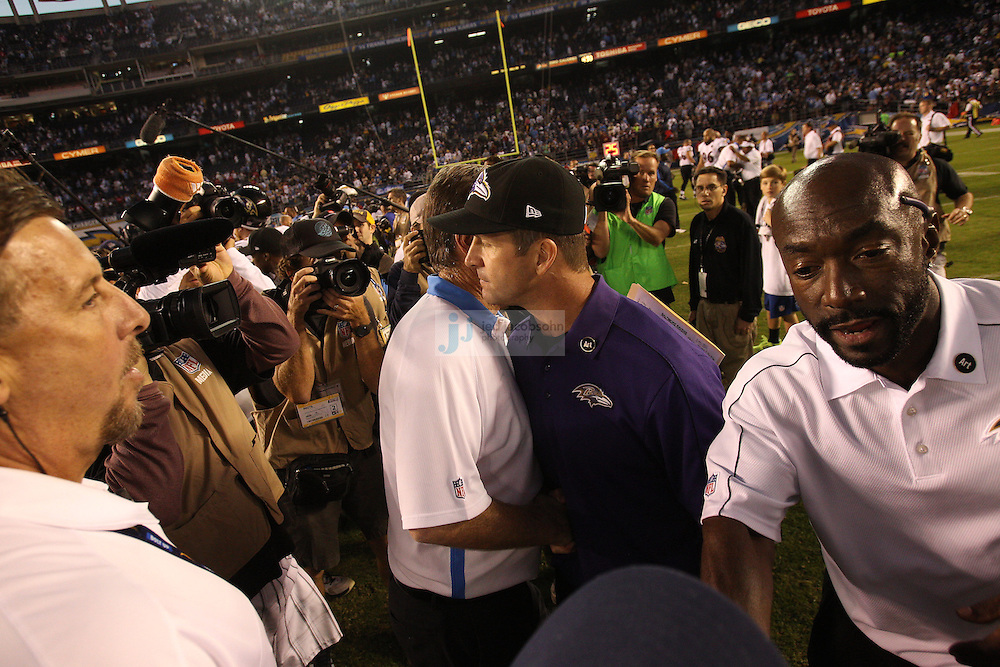 Head coach John Harbaugh of the Baltimore Ravens celebrates against after defeating the San Diego Chargers during an NFL game on Sunday, November 25, 2012 in San Diego, CA.  (Photo by Jed Jacobsohn)