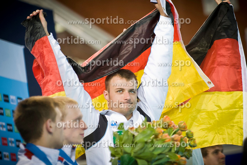 19.05.2012, Pieter van den Hoogenband Swimming Stadium, Eindhoven, NED, LEN, Turmspring Europameisterschaft 2012, Herren Synchonspringen 10m Turm, im Bild Patrick Hauding and Sascha Klein (GER) gold medal // during Men's 10m platform synchro - preliminary of LEN Diving European Championships at Pieter van den Hoogenband Swimming Stadium, Eindhoven, Netherlands on 2012/05/19. EXPA Pictures © 2012, PhotoCredit: EXPA/ Insidefoto/ Giorgio Perottino..***** ATTENTION - for AUT, SLO, CRO, SRB, SUI and SWE only *****
