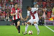 Susaeta of Athletic Club and Cucho of SD Huesca in action during the Spanish Championship La Liga match played in San Mames Stadium between Athletic Club and SD Huesca in Bilbao, Spain, at August 27th, 2018, Photo UGS / SpainProSportsImages / DPPI / ProSportsImages / DPPI