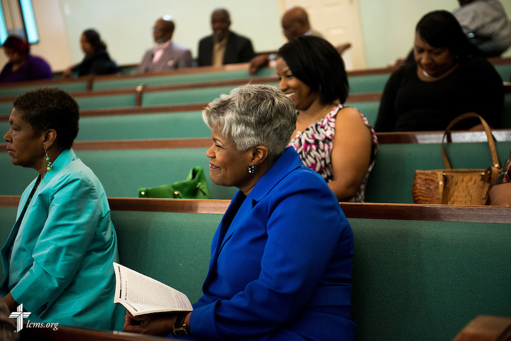 Gwendolyn Marshall, spouse of the Rev. Ulmer Marshall, listens during bible study at Trinity Lutheran Church Sunday, April 6, 2014, in Mobile, Ala. LCMS Communications/Erik M. Lunsford