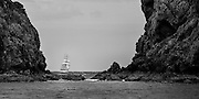 Tall ship Soren Larsen about to enter Great Barrier Island, Man of War Passage, on her way to Port Fitzroy.