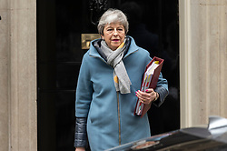 © Licensed to London News Pictures. 20/03/2019. London, UK. British Prime Minister Theresa May departs from Number 10 Downing Street to attend Prime Minister's Questions (PMQs) in the House of Commons. Photo credit: Ray Tang/LNP